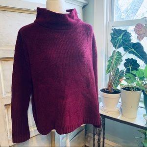 Catherine Malandrino Burgundy Chenille Sweater